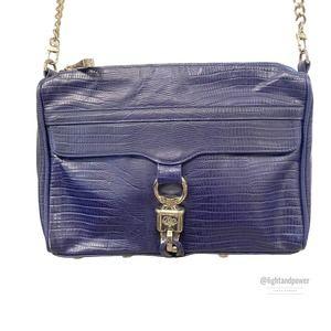 Rebecca Minkoff Navy Blue Croc Embossed Bag EUC